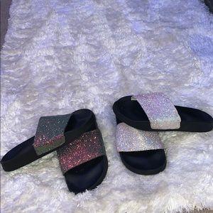 Comfy glittery slides